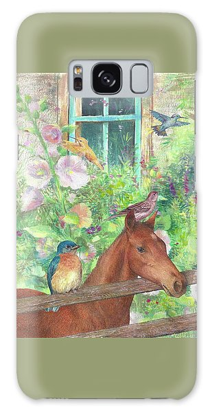 Illustrated Horse And Birds In Garden Galaxy Case