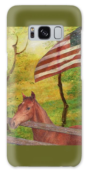 Illustrated Horse In Golden Meadow Galaxy Case