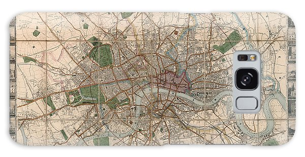 Illustrated Plan Of London And Its Environs - Map Of London - Historic Map - Antique Map Of London Galaxy Case