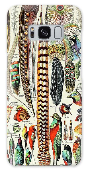 Colours Galaxy Case - Illustration Of Feathers And Birds  by Adolphe Philippe Millot