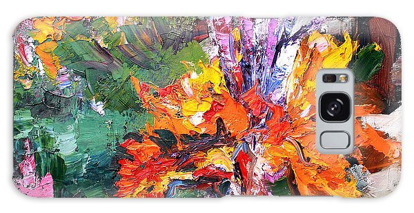 Impressionist Canna Flower Oil Painting  Galaxy Case