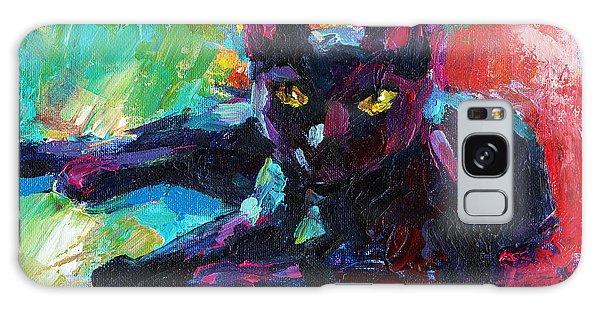 Impressionistic Black Cat Painting 2 Galaxy Case