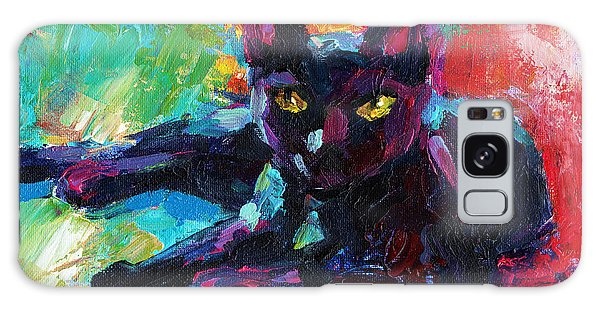 Impressionistic Black Cat Painting 2 Galaxy Case
