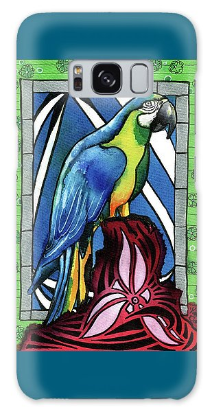 Galaxy Case featuring the painting In Love With A Macaw by Dora Hathazi Mendes