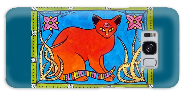 Indian Cat With Lilies Galaxy Case by Dora Hathazi Mendes