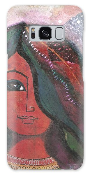 Galaxy Case featuring the mixed media Indian Rajasthani Woman by Prerna Poojara
