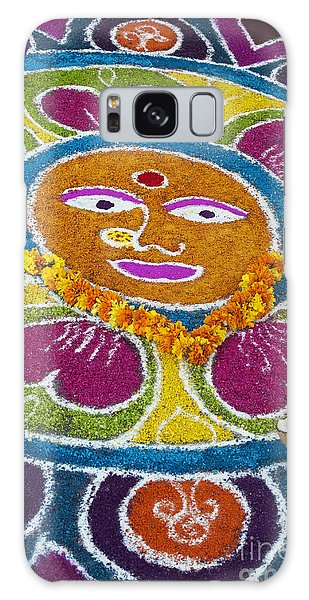 Sacred Heart Galaxy Case - Indian Rangoli Face  by Tim Gainey