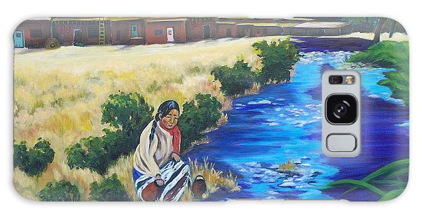Indian Woman At The Watering Hole Galaxy Case