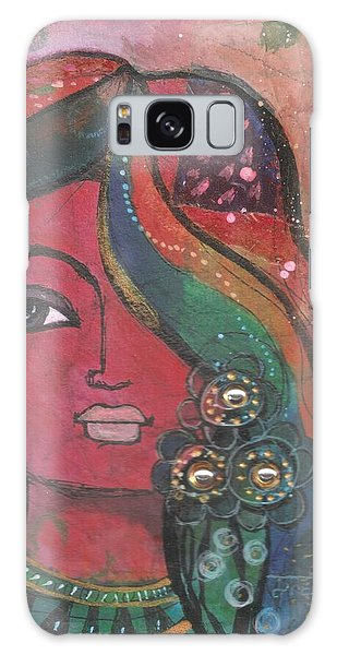Indian Woman With Flowers  Galaxy Case