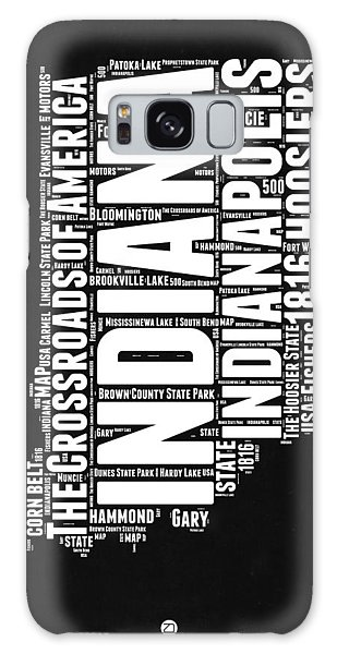 Indianapolis Galaxy Case - Indiana Black And White Word Cloud Map by Naxart Studio