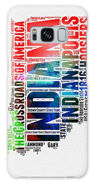 Indianapolis Galaxy Case - Indiana Watercolor Word Cloud Map  by Naxart Studio