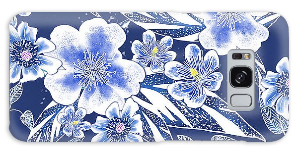 Indigo Batik Tile 2 - Ginger Leaves Galaxy Case
