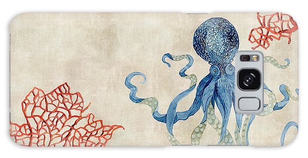 Indigo Ocean - Octopus Floating Amid Red Fan Coral Galaxy Case by Audrey Jeanne Roberts