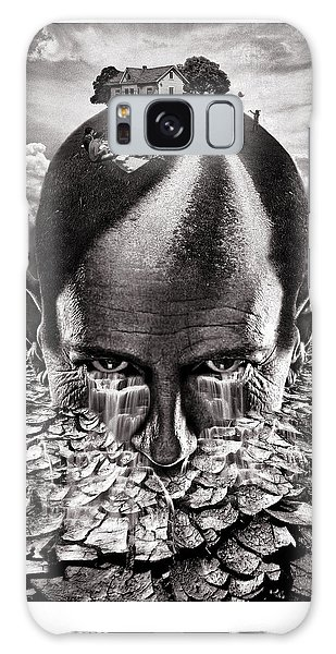 Surreal Digital Art Galaxy Case - Inhabited Head Gray Scale by Marian Voicu