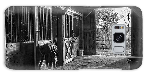 Galaxy Case featuring the photograph Inside The Horse Barn Black And White by Edward Fielding
