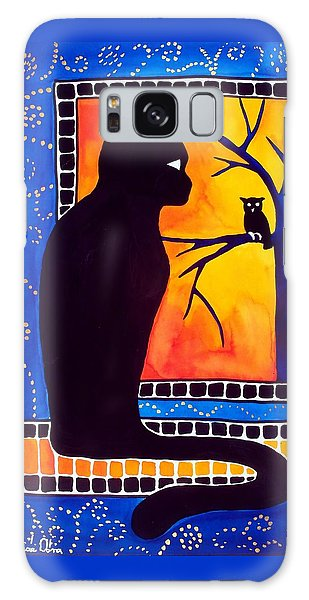 Insomnia - Cat And Owl Art By Dora Hathazi Mendes Galaxy Case by Dora Hathazi Mendes