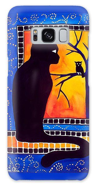 Insomnia - Cat And Owl Art By Dora Hathazi Mendes Galaxy Case