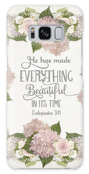 Inspirational Scripture - Everything Beautiful Pink Hydrangeas And Roses Galaxy Case