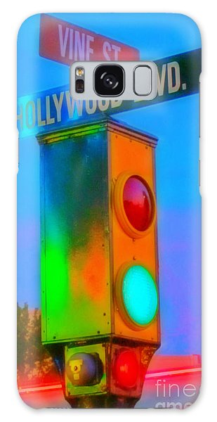 Traffic Signals Galaxy Case - Intersection Of Hollywood And Vine by Crystal Loppie