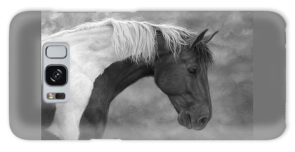 White Horse Galaxy Case - Intrigued - Black And White by Lucie Bilodeau