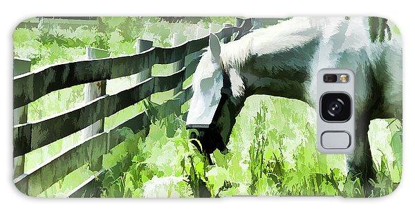 Iowa Farm Pasture And White Horse Galaxy Case by Wilma Birdwell