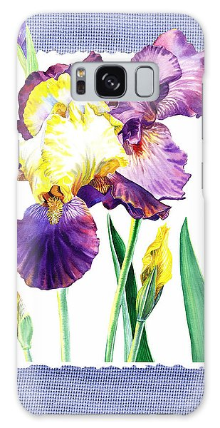 Country Living Galaxy Case - Iris Flower On Baby Blue by Irina Sztukowski