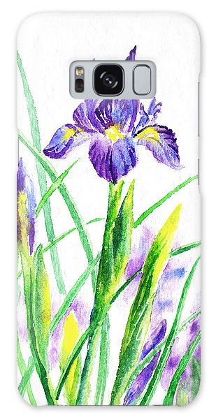 Outdoor Dining Galaxy Case - Iris Flowers Botanical  by Irina Sztukowski