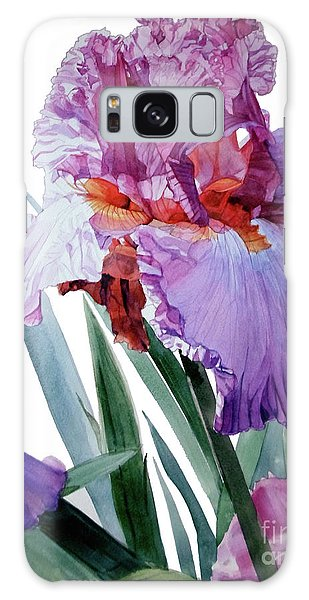 Watercolor Of A Tall Bearded Iris In Pink, Lilac And Red I Call Iris Pavarotti Galaxy Case