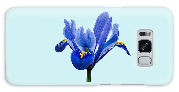 Galaxy Case featuring the photograph Iris Reticulata Blue Background by Paul Gulliver