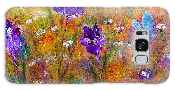 Iris Wildflowers And Butterfly Galaxy Case