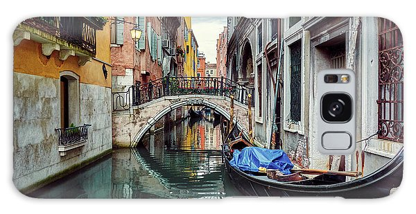 Gondola Parked On Lonely Water Canal In Venice, Italy Galaxy Case