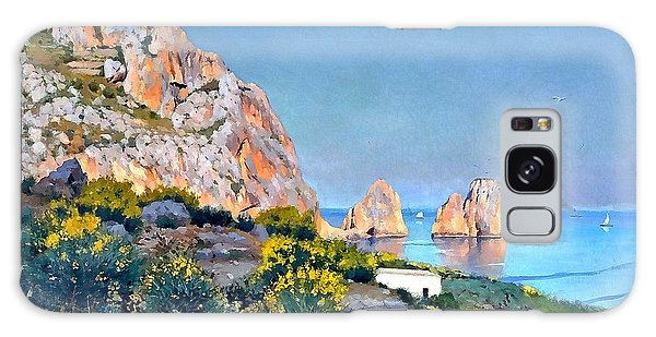 Galaxy Case featuring the painting Island Of Capri - Gulf Of Naples by Rosario Piazza