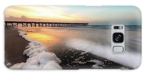 Isle Of Palms Pier Sunrise And Sea Foam Galaxy Case