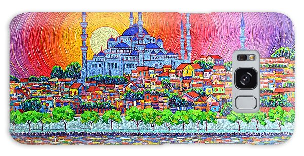 Istanbul Blue Mosque Sunset Modern Impressionist Palette Knife Oil Painting By Ana Maria Edulescu    Galaxy Case