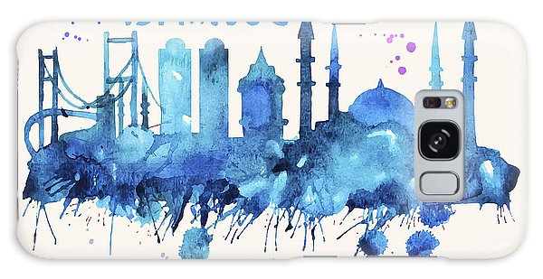 Istanbul Skyline Watercolor Poster - Cityscape Painting Artwork Galaxy Case