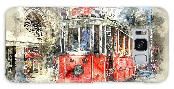 Istanbul Turkey Red Trolley Digital Watercolor On Photograph Galaxy Case