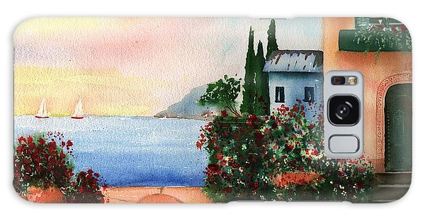 Italian Sunset Villa By The Sea Galaxy Case by Sharon Mick