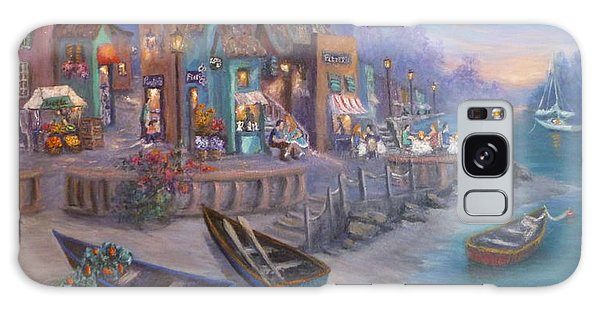 Italy Tuscan Decor Painting Seascape Village By The Sea Galaxy Case