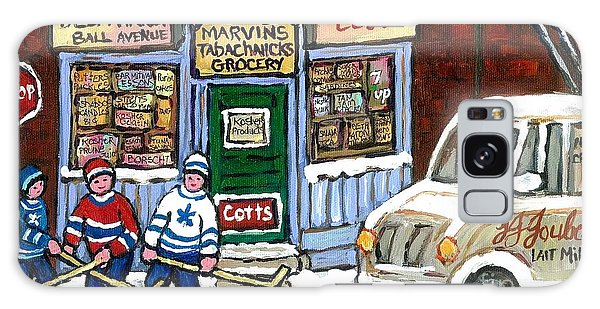 J J Joubert Vintage Milk Truck At Marvin's Grocery Montreal Memories Street Hockey Best Hockey Art Galaxy Case