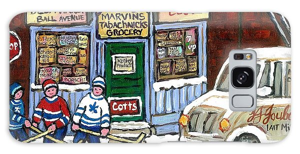 J J Joubert Vintage Milk Truck At Marvin's Grocery Montreal Memories Street Hockey Best Hockey Art Galaxy Case