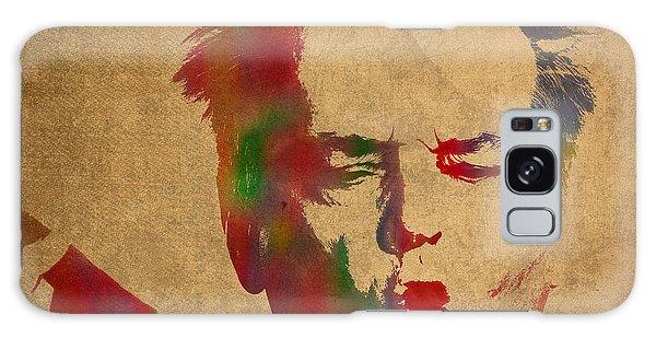 Jack Nicholson Smoking A Cigar Blowing Smoke Ring Watercolor Portrait On Old Canvas Galaxy Case