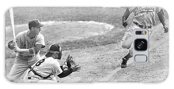 Jackie Robinson Stealing Home Yogi Berra Catcher In 1st Game 1955 World Series Galaxy Case