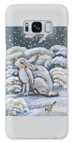 Jackrabbit And Horned Larks Galaxy Case by Dawn Senior-Trask