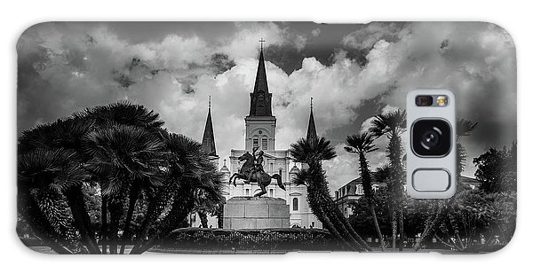 Jackson Square Sunrise In Black And White Galaxy Case