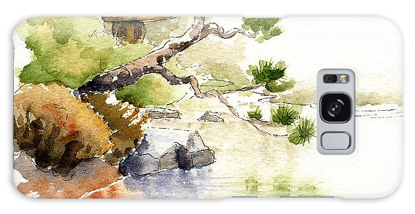 Japanese Garden Pond Sketch Galaxy Case