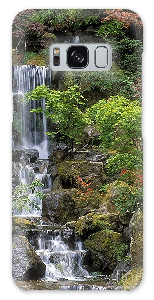 Japanese Garden Waterfall Galaxy Case by Sandra Bronstein