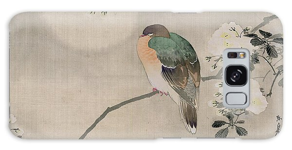 Japanese Silk Painting Of A Wood Pigeon Galaxy Case by Japanese School