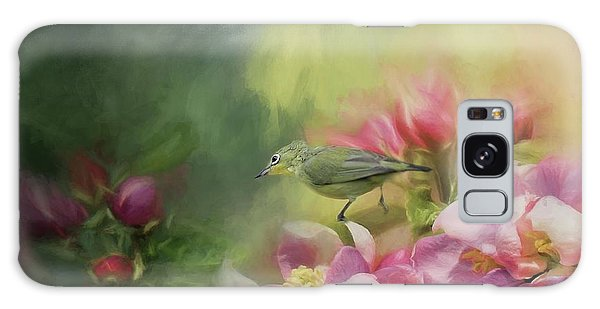 Japanese White-eye On A Blooming Tree Galaxy Case by Eva Lechner