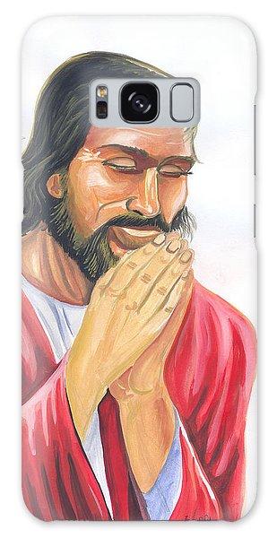 Jesus Praying Galaxy Case by Emmanuel Baliyanga