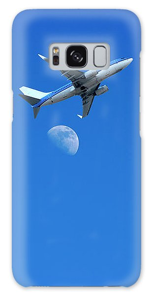 Jet Plane Flying Over The Moon Galaxy Case